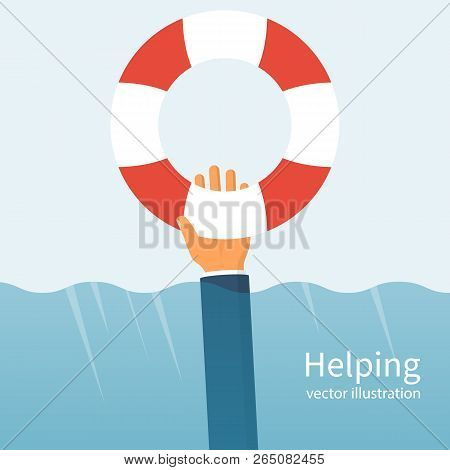 Helping Concept. Lifebuoy Holding In Hand. Vector Illustration Flat Design. Charity Support. Hope Sy