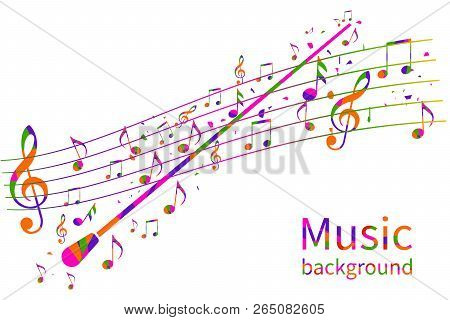 Colorful Music Background. Abstract Conductor Orchestra. Conductors Stick. Musical Notes Template. V