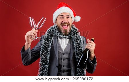Boss Tinsel Ready Celebrate New Year. Corporate Party Ideas Employees Will Love. Man Bearded Cheerfu