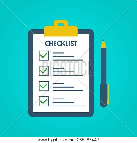 Checklist With Tick Marks In A Flat Style. Questionnaire On A Clipboard Paper. Successful Completion