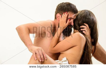 Couple Make Love Have Sex. Man With Beard Sexual Foreplay. Foreplay Master. Sex And Love Concept. Ho