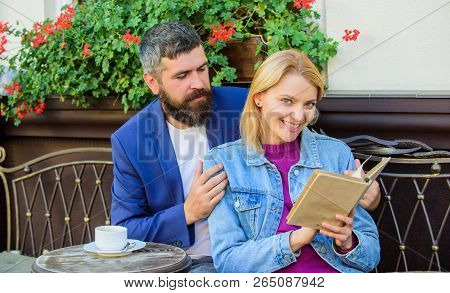Man With Beard And Blonde Woman Cuddle On Romantic Date. Love And Flirt. Common Interests. Couple In