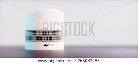 Home Intelligent Voice Activated Assistant. 3d Rendering Concept Of White Hi Tech Futuristic Artific