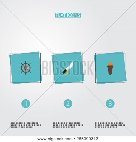 Set of piracy icons flat style symbols with sword, controlling helm, torch and other icons for your web mobile app logo design. poster