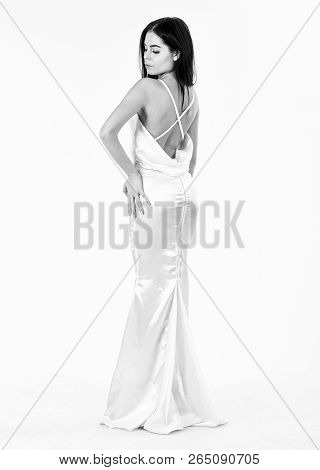 Beautiful Back, Bride Woman In Wedding Dress, Fashion Style. Woman In Elegant White Dress With Nude