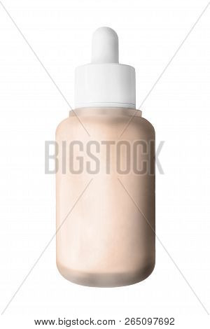 Nude Beige Concealer In Glass Bottle Isolated Over Hite