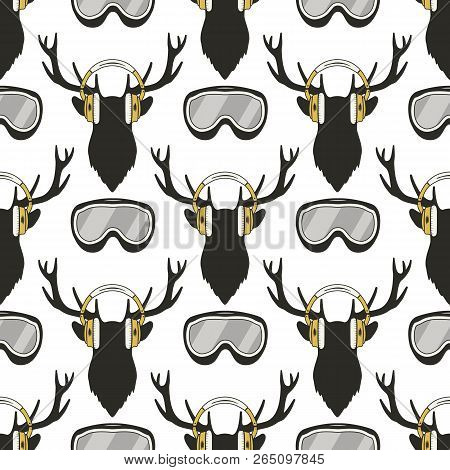 Christmas Deer Pattern. Funny Reideer In Headphones And Ski, Snowboard Goggles. Xmas Winter Seamless