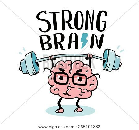 Very Strong Cartoon Brain Concept. Doodle Style. Vector Illustration Of Pink Color Centered Brain Wi