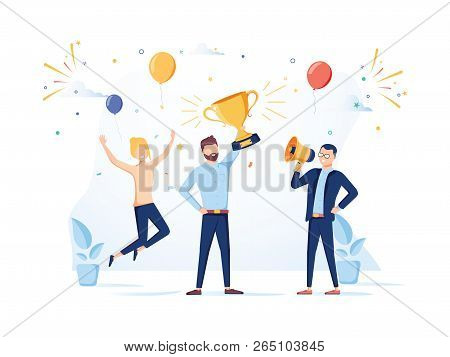 Team Success Vector Concept. Business People Celebrating Victory. Man Holding Gold Cup. Flat Vector