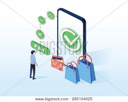 Online Commerce Vector Illustration For E-business Or E-commerce Technology. Mobile App For Payment
