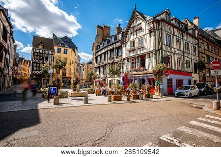 Cozy Square With Beautiful Buildings And Cafes In Rouen City, The Capital Of Normandy Region In Fran