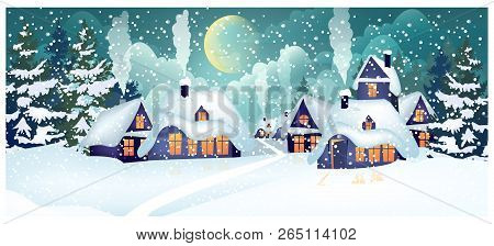 Houses With Illuminated Windows In Village Vector Illustration. Houses With Snow On Roofs And Fallin