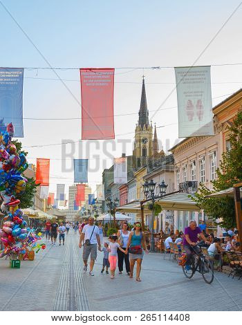Novi Sad, Serbia - August 26, 2017: People Walk At The Old Town Street Of Novi Sad. Novi Sad Is The