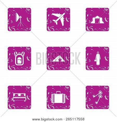 Business Tourism Icons Set. Grunge Set Of 9 Business Tourism Icons For Web Isolated On White Backgro
