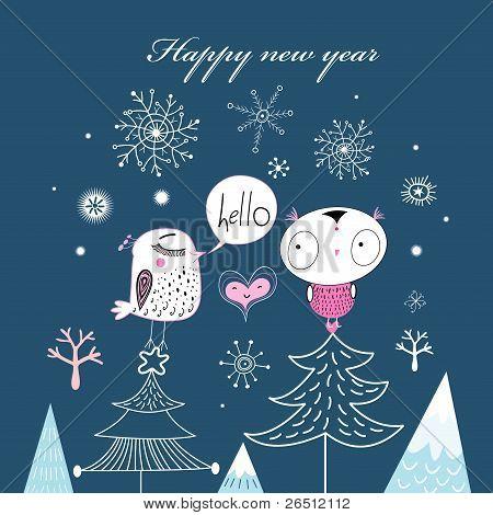 Christmas card with birds