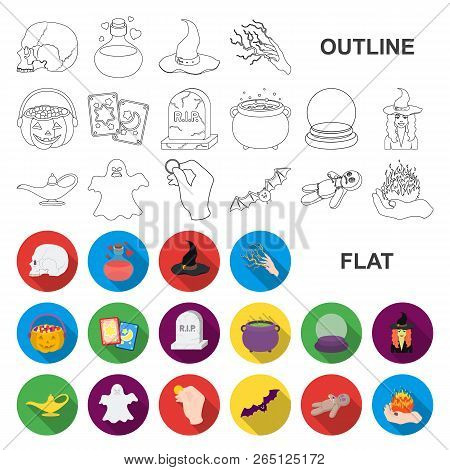 Flat And White Magic Flat Icons In Set Collection For Design. Attributes And Sorceress Accessories V