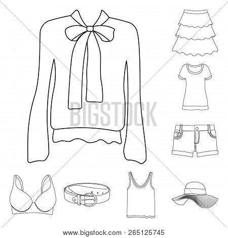 Vector Illustration Of Woman And Clothing Symbol. Set Of Woman And Wear Vector Icon For Stock.