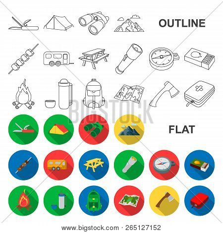 Rest In The Camping Flat Icons In Set Collection For Design. Camping And Equipment Vector Symbol Sto
