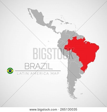 Map Of Latin America With The Identication Of Brazil. Map Of Brazil. Political Map Of America In Gra