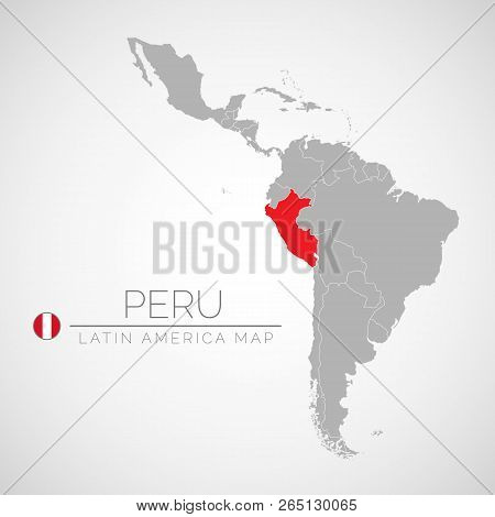 Map Of Latin America With The Identication Of Peru. Map Of Peru. Political Map Of America In Gray Co
