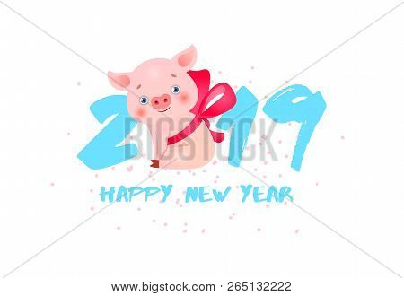 happy new year banner design with piglet and blue numbers creative inscription with blue numbers and small piglet in neckband can be used for banners