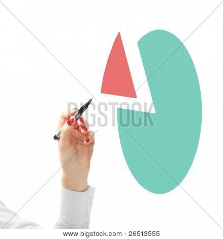 Hand showing diagram with two segments. Isolated on white. Closeup.
