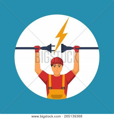 Professional Electrician Icon. Electrical Outlet And Plug In The Hands Of The Worker. Unplug, Plugge