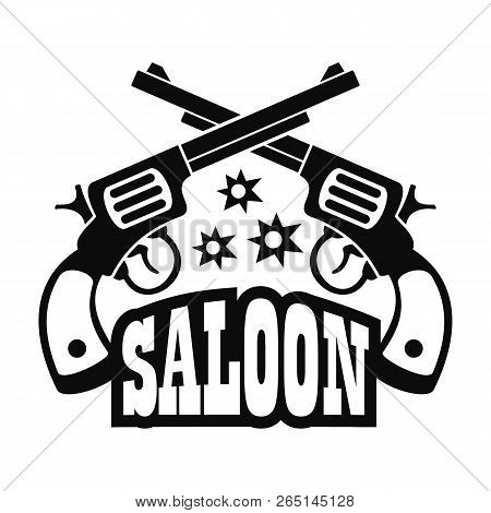 Saloon pistol logo. Simple illustration of saloon pistol logo for web design isolated on white background poster