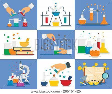 Chemistry Reaction Banner Set. Flat Illustration Of Chemistry Reaction Banner Set For Web Design
