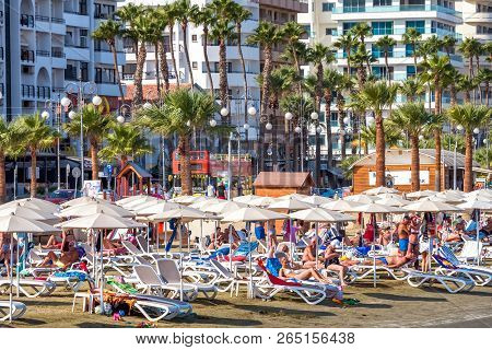 Larnaca, Cyprus - October 06, 2018: Larnaca Seafront, Beach And Hotels.