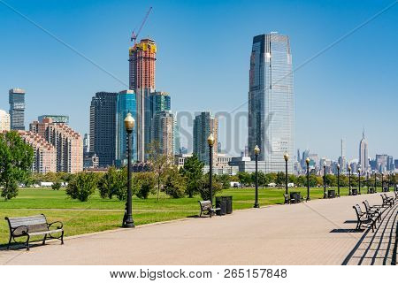 Jersey City, Nj - September 29, 2018:  Skyline Of Jersey City, New Jersey Along Path In Liberty Stat