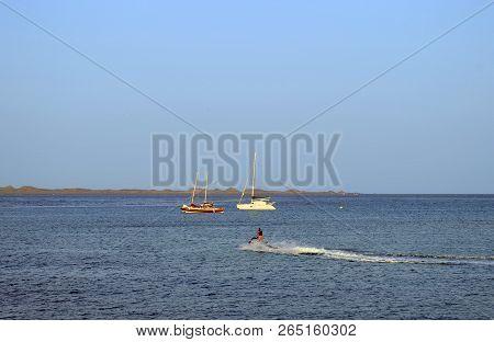 Corralejo Harbour, Fuerteventura, Canary Islands, Spain - September 20, 2018 : Yachts And Jetski In
