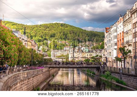 The Embankment Of Tepla River In The Center Of Karlovy Vary, Czech Republic.