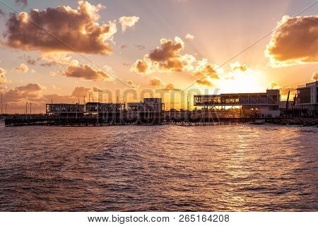 Beautiful Sunset Over Over Limassol Marina. Cyprus