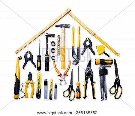 High Angle View Of Various Worktools On White Background