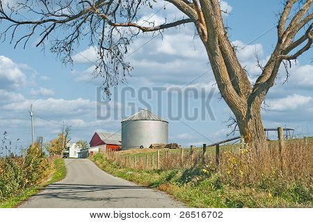Silo On A Country Road