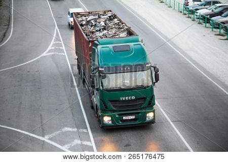 Gelendzhik, Russia - November 16, 2014: Green Semi-trailer Truck Iveco Stralis As At The Interurban