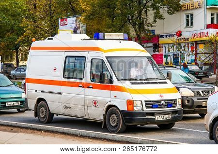 Ufa, Russia - September 30, 2011: Ambulance Car Volkswagen Lt In The City Street.