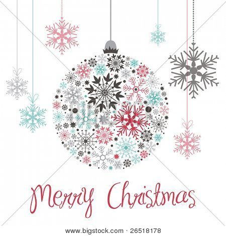 Snowflake background with Christmas Ball