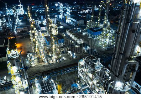 Oil and gas industrial,Oil refinery plant form industry at night