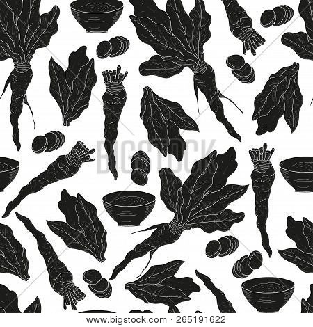Horseradish. Leaves, Root. Black Silhouette On White Background. Wallpaper, Texture, Seamless.