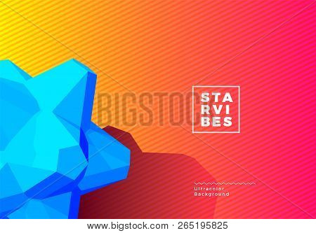 3d Star Shape Background With Vibrant Color For Vivid Lights Poster, Booklet Or Cover