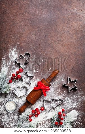 Bakery Background For Cooking Christmas Baking With Rolling Pin And Scattered Flour Decorated With F