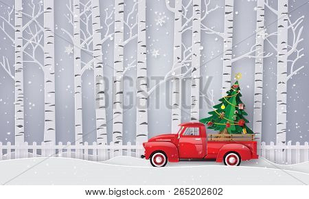 Paper Art Of Merry Christmas And Winter Season With Red Truck Carry Christmas Tree.