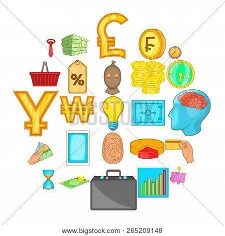 Monetary Abundance Icons Set. Cartoon Set Of 25 Monetary Abundance Vector Icons For Web Isolated On