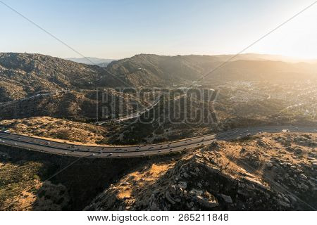 Aerial view of the Santa Susana Pass and Route 118 Freeway between Los Angeles and Simi Valley, California.