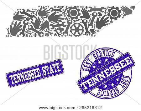 Best Service Combination Of Mosaic Map Of Tennessee State And Blue Rubber Seals. Mosaic Map Of Tenne