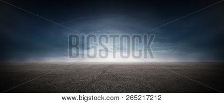 Dark Floor Background Concrete Street Sunset Horizon Landscape