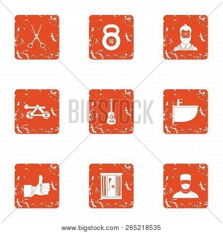 Comprehension Icons Set. Grunge Set Of 9 Comprehension Vector Icons For Web Isolated On White Backgr