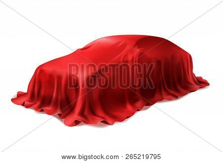 Vector Realistic Car Covered With Red Silk Isolated On White Background. Presentation Of New Car In